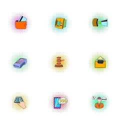 Cash icons set pop-art style vector