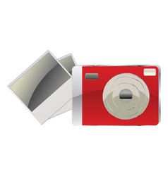 Red digital camera and photo cards vector