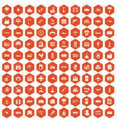 100 industry icons hexagon orange vector