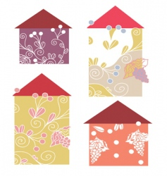 Houses floral vector