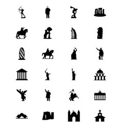 Monuments icons 2 vector