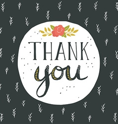 Thank you greeting card with hand lettering and vector