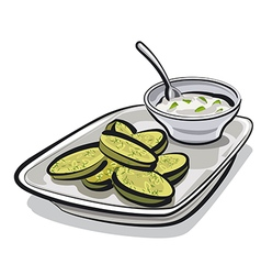 Baked zucchini with sauce vector