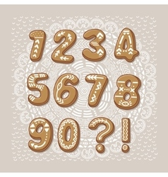 Christmas cookie numbers font vector
