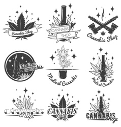 Set of medical marijuana labels in vintage style vector