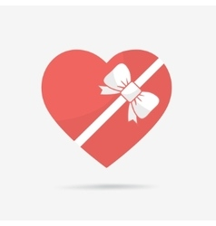 Gift box of heart tied with ribbon vector