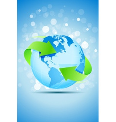 Planet Earth with Green Arrows vector image
