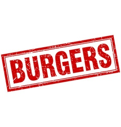 Burgers red square grunge stamp on white vector