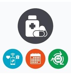 Medical pills bottle sign icon drugs symbol vector