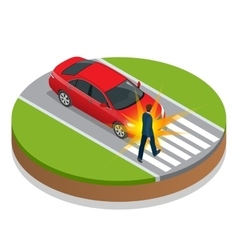 Car accident accident car and pedestrian flat 3d vector