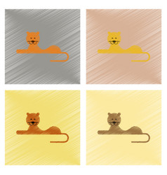 Assembly flat shading style icons cartoon lioness vector