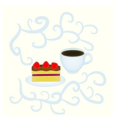 Cake and cup vector image vector image