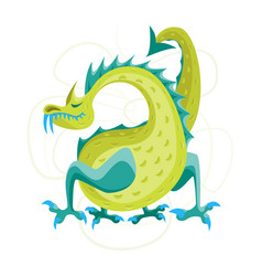 Cartoon green fantasy animal dragon vector