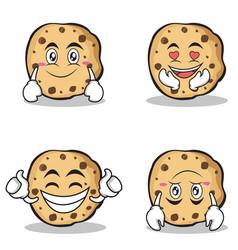 Collection sweet cookies character cartoon set vector