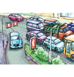 Detour of a traffic jam vector
