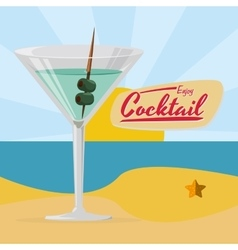 Enjoy cocktail martini beach sun beach vector