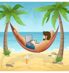 Freelancer at the beach vector