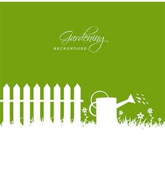 Gardening scene with watering can near fence on vector image