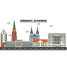 germany schwerin city skyline architecture vector image vector image