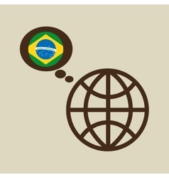 Globe sphere flag brazil country button graphic vector