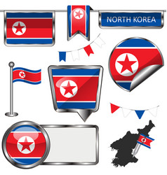 glossy icons with flag of north korea vector image vector image