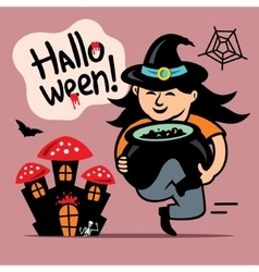Halloween witch with cauldron cartoon vector