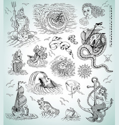 hand drawn collection with marine myth characters vector image vector image