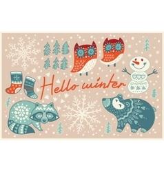 Hello winter card in cartoon style vector image