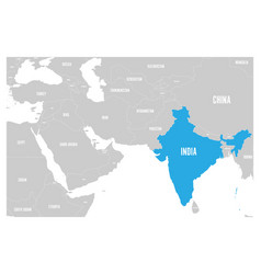 India blue marked in political map of south asia vector