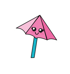 Kawaii cute happy umbrella emoji vector