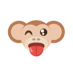 kawaii face monkey animal fun vector image