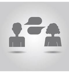 Man and woman icons with empty speech bubbles vector image vector image