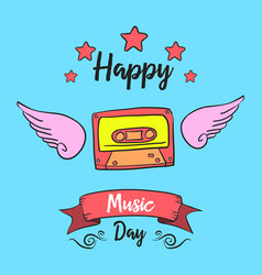 Music day card style collection vector