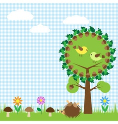 oak and birdsf vector image