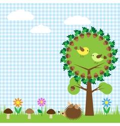 Oak and birdsf vector