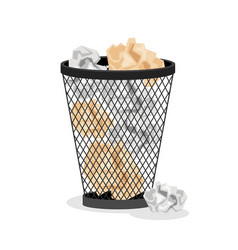 office basket with crumpled paper vector image