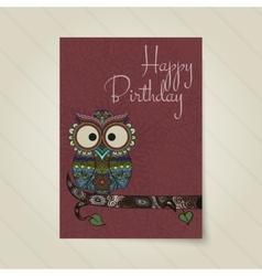 Ornamental owl bird vector