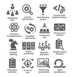 Product management icons vector