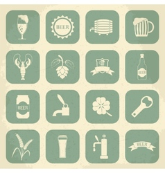 Retro beer icons set vector