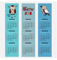 Season calendar winter color bookmark vector