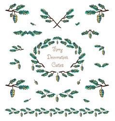 set of cute pine tree twigs decorative elements vector image vector image