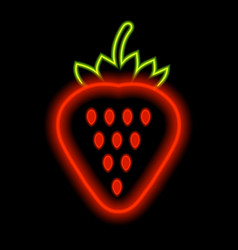 strawberry neon lights against a black background vector image vector image