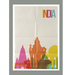 Travel india landmarks skyline vintage poster vector
