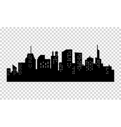 Black and white sihouette of big city skyline vector