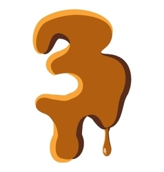Number 3 from caramel icon vector