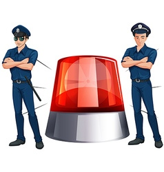 Police officers and siren light vector