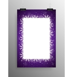 Poster frame falling snow violet background vector