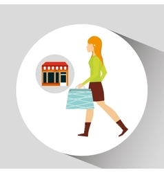 Woman walking bag shopping store vector