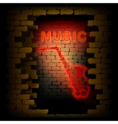 Music saxophone neon light in the brick wall uno vector
