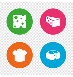 cheese sign sliced food with chief hat icons vector image